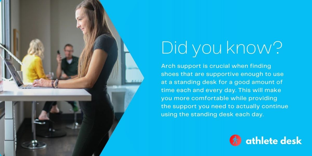 shoes at a standing desk